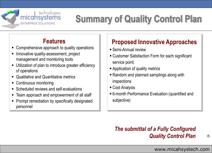 Summary of Quality Control Plan
