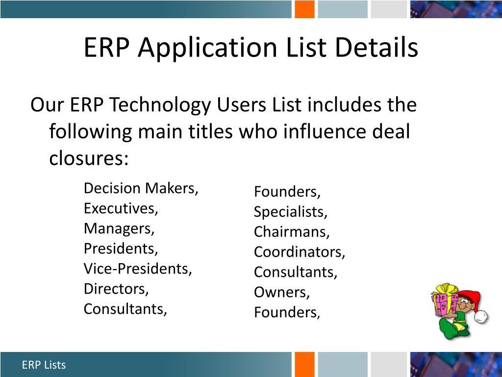 ERP Application List Details