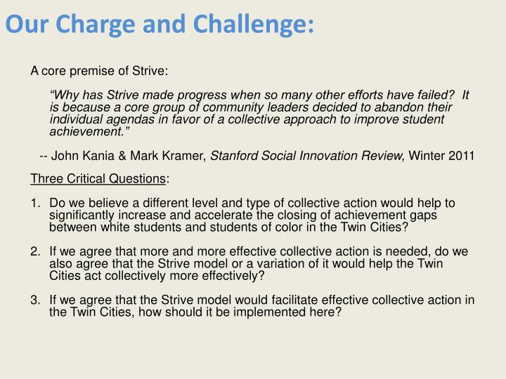 our charge and challenge n.
