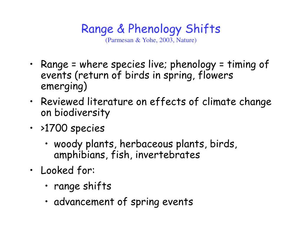 Range & Phenology Shifts