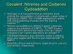 covalent nitrenes and carbenes cycloaddtion