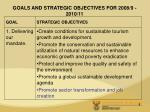 goals and strategic objectives for 2008 9 2010 11