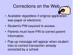 corrections on the web