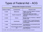types of federal aid acg