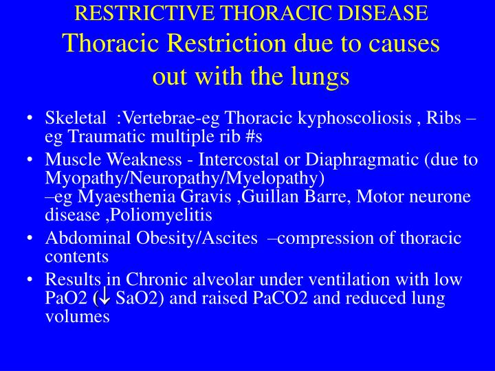 restrictive thoracic disease thoracic restriction due to causes out with the lungs n.