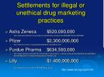 settlements for illegal or unethical drug marketing practices