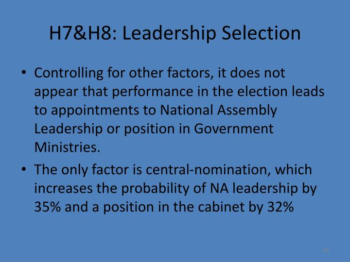 H7&H8: Leadership Selection