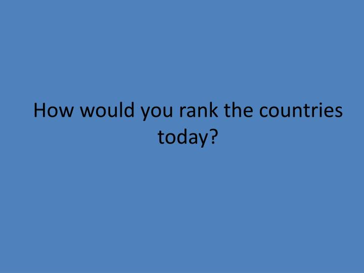 How would you rank the countries today?