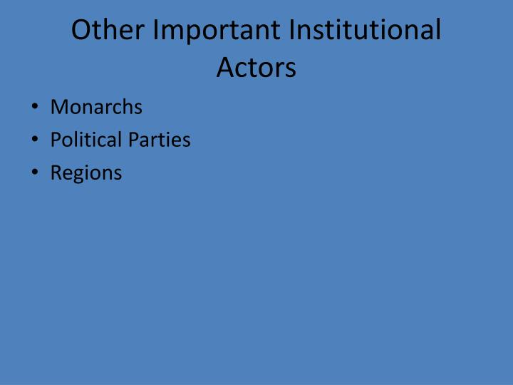 Other Important Institutional Actors