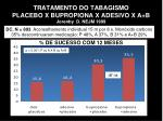 tratamento do tabagismo placebo x bupropiona x adesivo x a b jorenby d nejm 1999