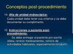 conceptos post procedimiento