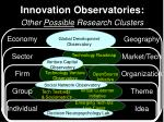 innovation observatories other possible research clusters