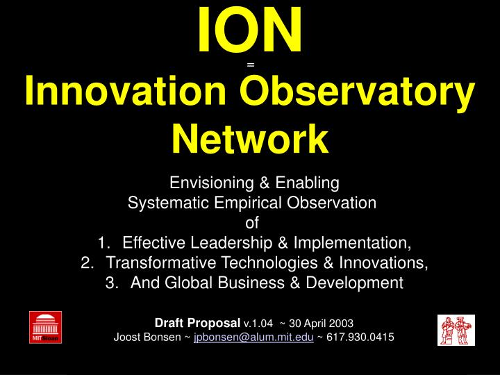 ion innovation observatory network n.
