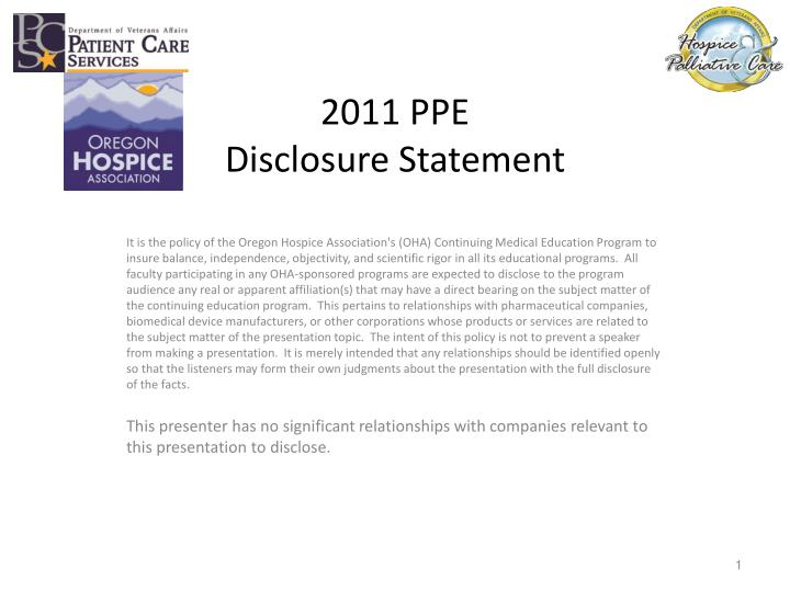 2011 ppe disclosure statement n.