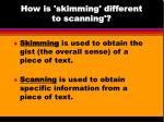 how is skimming different to scanning