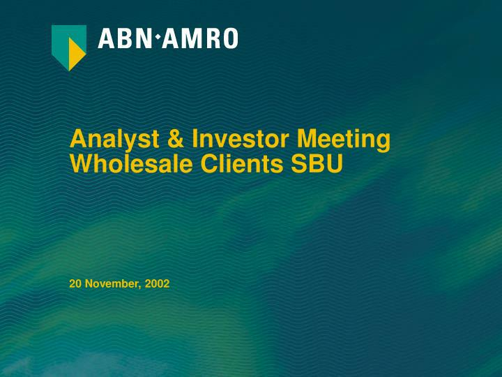 analyst investor meeting wholesale clients sbu n.