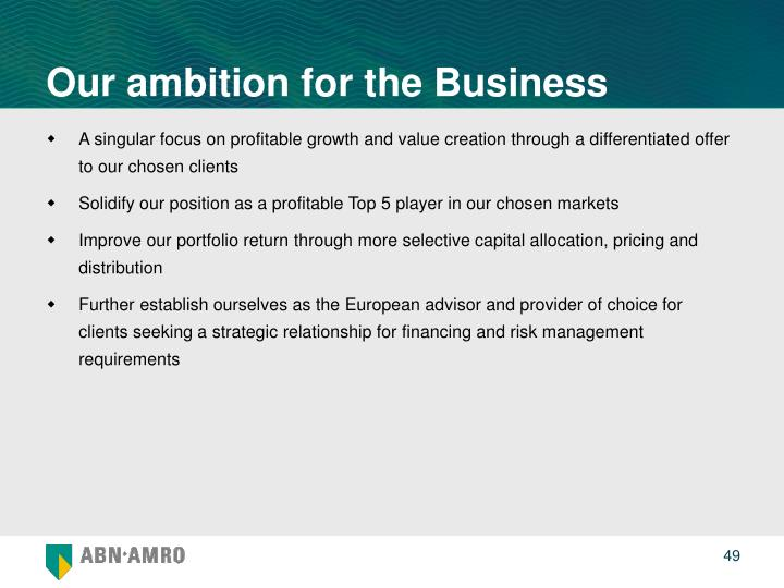 Our ambition for the Business