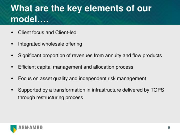 What are the key elements of our model….