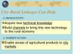 city rural linkages can help