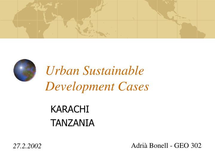 u rban sustainable development c ases n.