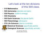 let s look at the ten divisions of this 500 class