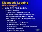 diagnostic logging msexchangeis 2