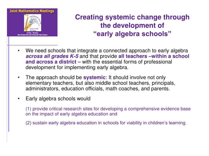 Creating systemic change through