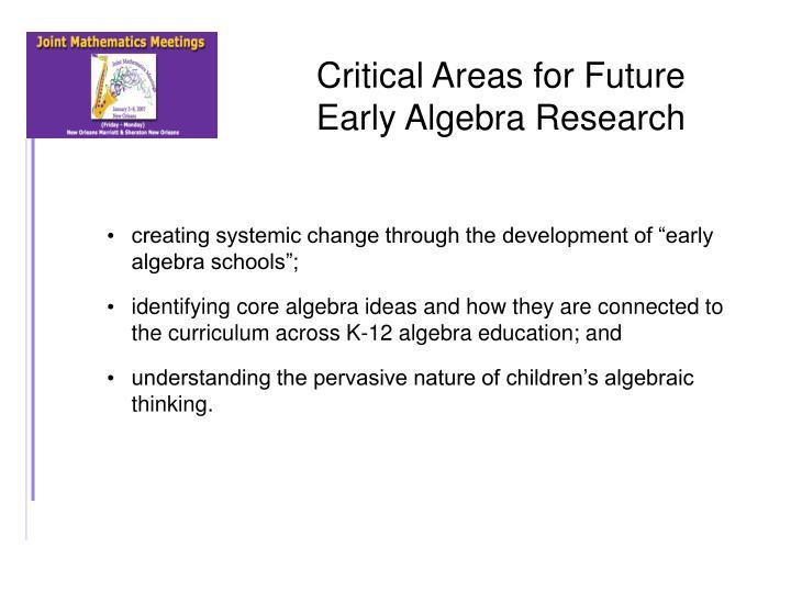 Critical Areas for Future