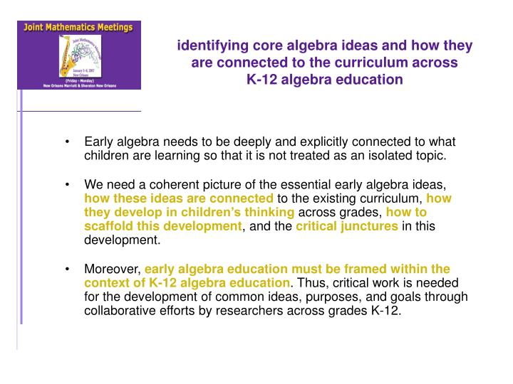 identifying core algebra ideas and how they