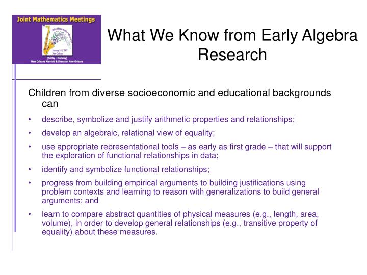 What We Know from Early Algebra Research