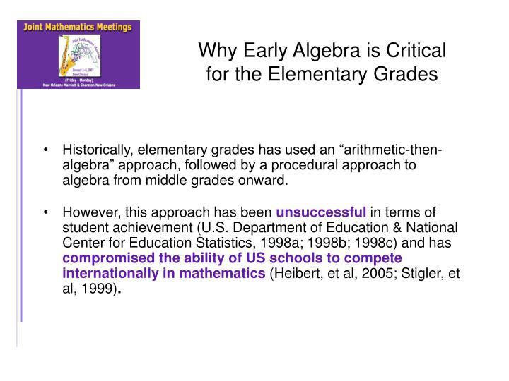 Why Early Algebra is Critical
