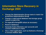information store recovery in exchange 2000
