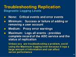troubleshooting replication diagnostic logging levels