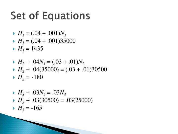 Set of Equations