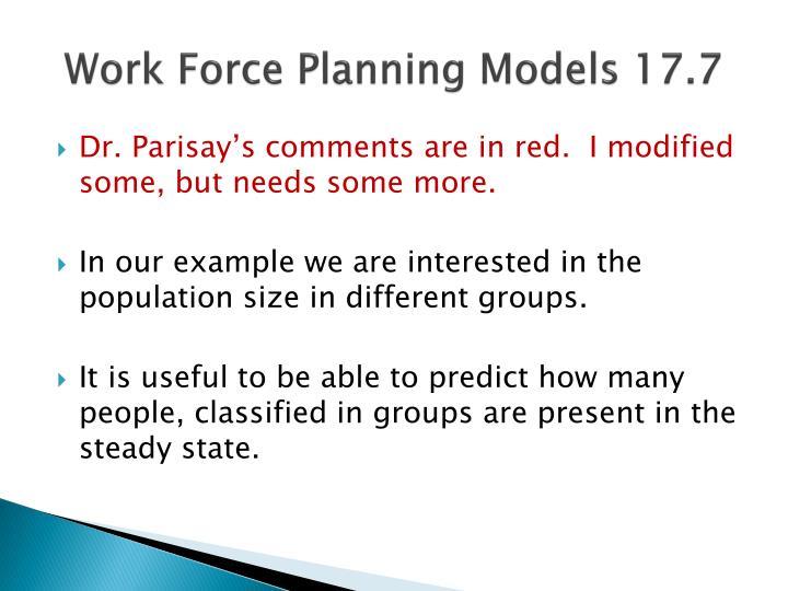 Work force planning models 17 7