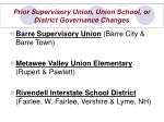 prior supervisory union union school or district governance changes