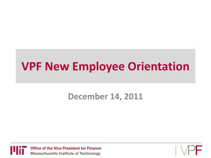 vpf new employee orientation n.