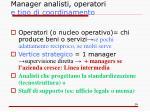 manager analisti operatori e tipo di coordinamento