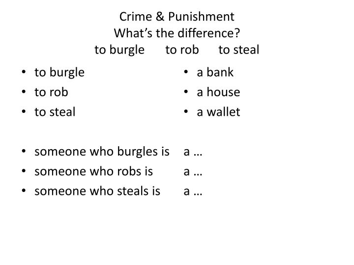 crime punishment what s the difference to burgle to rob to steal n.