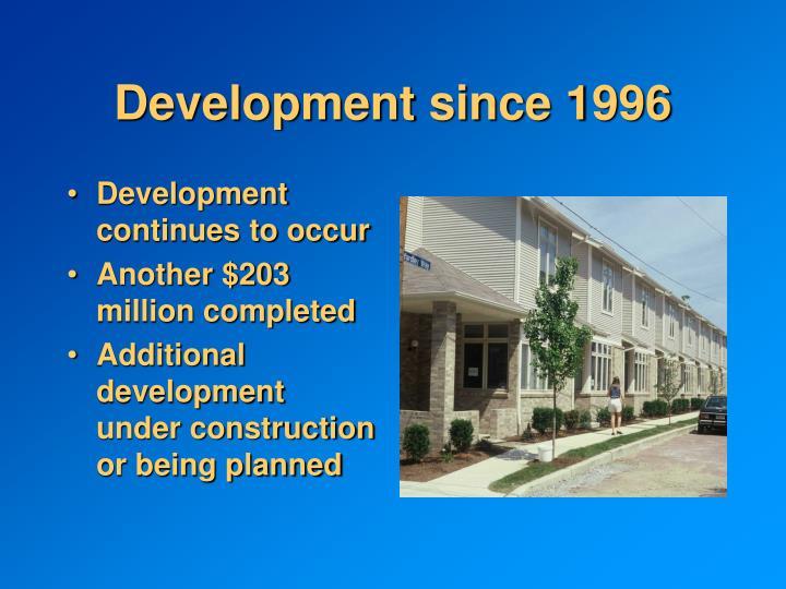 Development since 1996