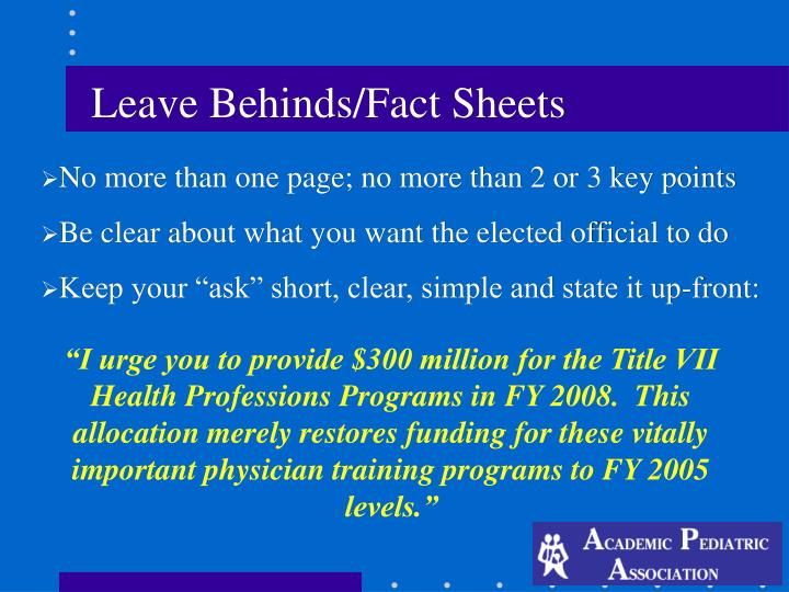 Leave Behinds/Fact Sheets