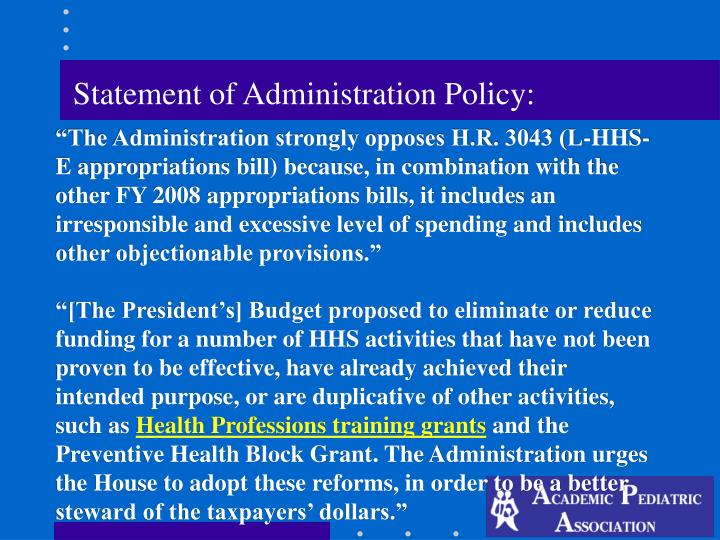 Statement of Administration Policy: