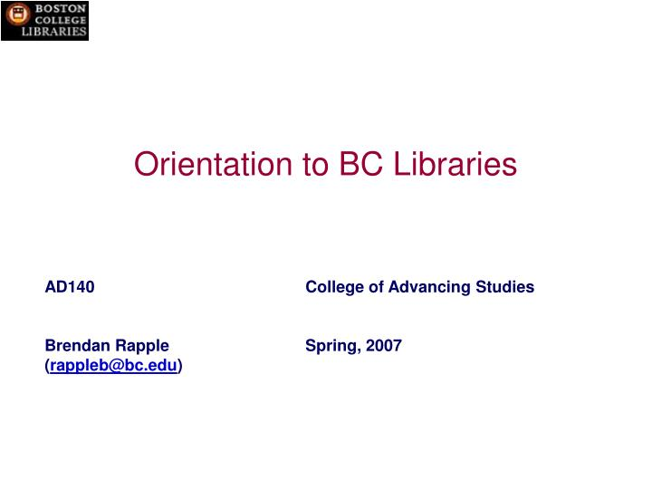 orientation to bc libraries n.