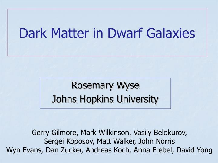 dark matter in dwarf galaxies n.
