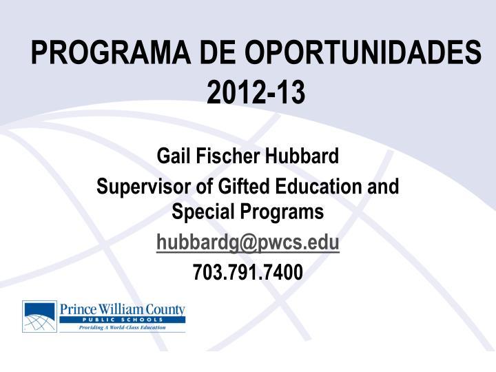 programa de oportunidades 2012 13 n.