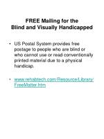 free mailing for the blind and visually handicapped