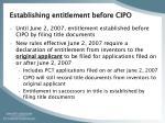 establishing entitlement before cipo
