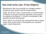 new small entity rules ip due diligence