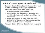 scope of claims apotex v wellcome