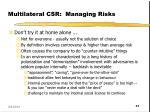 multilateral csr managing risks